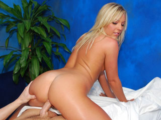Hot blond Ally fucks and sucks her massage client on the massage table!